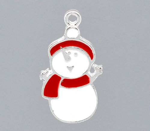 5 Red & White Enamel Christmas Snowman Charms 23x13mm